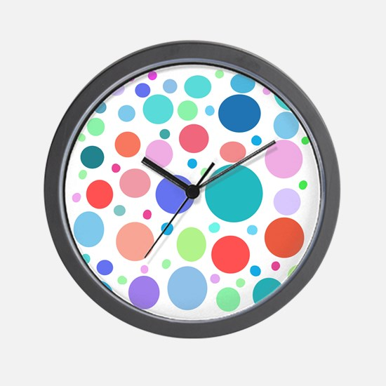 Multi Colored Polka Dots Wall Clock