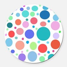 Multi Colored Polka Dots Round Car Magnet