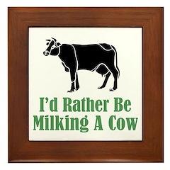 Milking A Cow Framed Tile