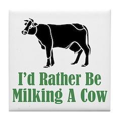 Milking A Cow Tile Coaster