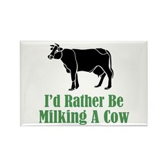 Milking A Cow Rectangle Magnet (10 pack)