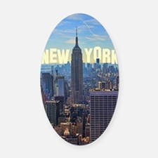 Empire State Building from the Top Oval Car Magnet