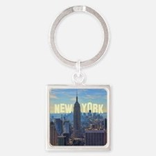 Empire State Building from the Top Square Keychain