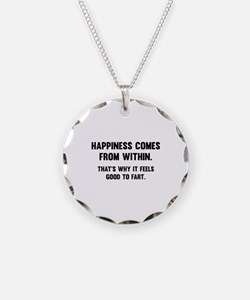 Happiness Comes From Within Necklace Circle Charm