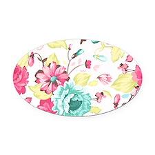 Elegant Flowers Oval Car Magnet