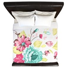 Elegant Flowers King Duvet