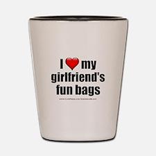 """Love My Girlfriend's Fun Bags"" Shot Glass"