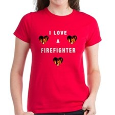 I Love A Firefighter Women's Fitted Dark T-Shirt