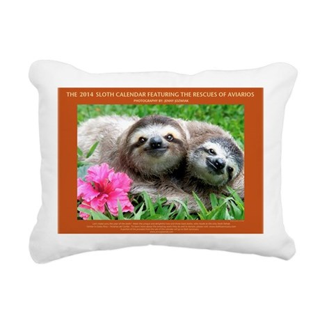 2014 Sloth Calendar Feat Rectangular Canvas Pillow