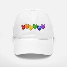 Vintage Gay Pride Hearts Baseball Baseball Cap