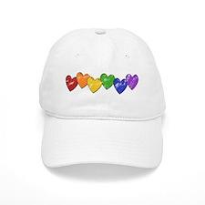 Vintage Gay Pride Hearts Baseball Cap