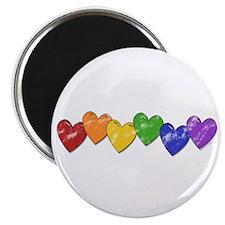 """Vintage Gay Pride Hearts 2.25"""" Magnet (10 pack)"""