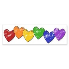 Vintage Gay Pride Hearts Bumper Bumper Sticker