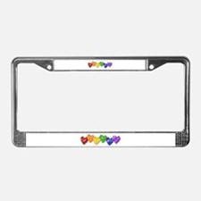 Vintage Gay Pride Hearts License Plate Frame