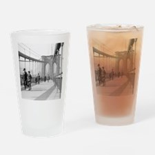 Brooklyn Bridge Pedestrians Drinking Glass