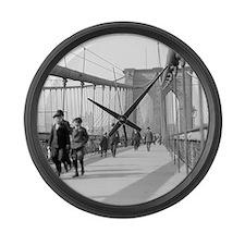 Brooklyn Bridge Pedestrians Large Wall Clock