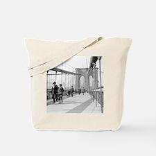Brooklyn Bridge Pedestrians Tote Bag