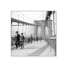 "Brooklyn Bridge Pedestrians Square Sticker 3"" x 3"""