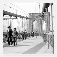 "Brooklyn Bridge Pedestri Square Car Magnet 3"" x 3"""