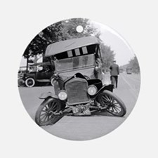 Crashed Ford Model T Round Ornament