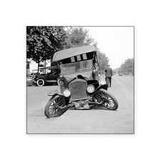 "Crashed Ford Model T Square Sticker 3"" x 3"""