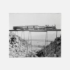 Train Crossing High Bridge Throw Blanket