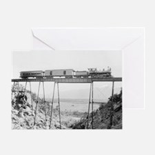 Train Crossing High Bridge Greeting Card