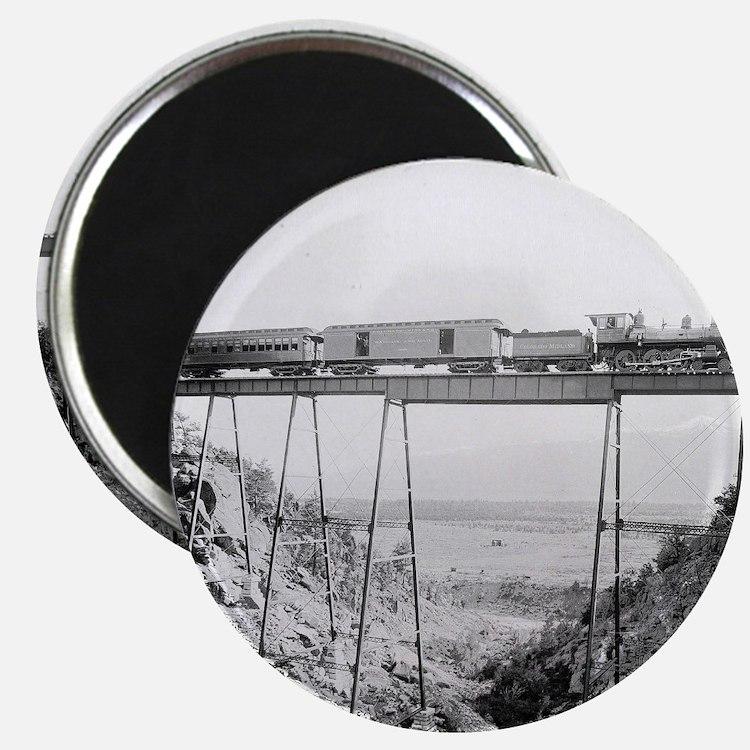 Train Crossing High Bridge Magnet