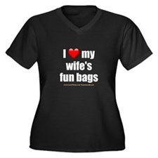 """Love My Wife's Fun Bags"" Women's Plus Size V-Neck"
