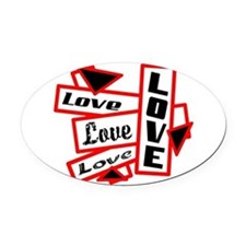 Lots Of Love Oval Car Magnet