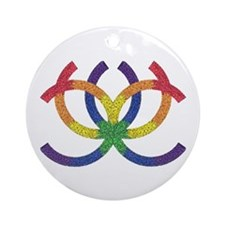 GAY PRIDE RAINBOW TRIBAL Ornament (Round)