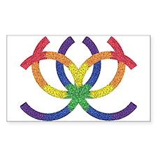 GAY PRIDE RAINBOW TRIBAL Rectangle Decal