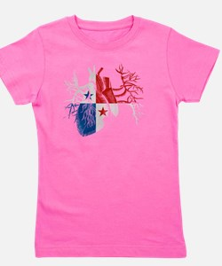Panama Flag in Real Heart Girl's Tee