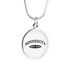 Minnesota Disc Golf Silver Round Necklace