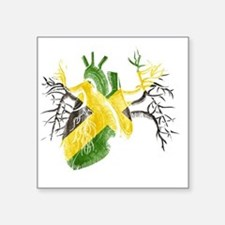 """Jamaican Flag In Real Heart Square Sticker 3"""" x 3"""""""