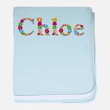 Chloe Bright Flowers baby blanket