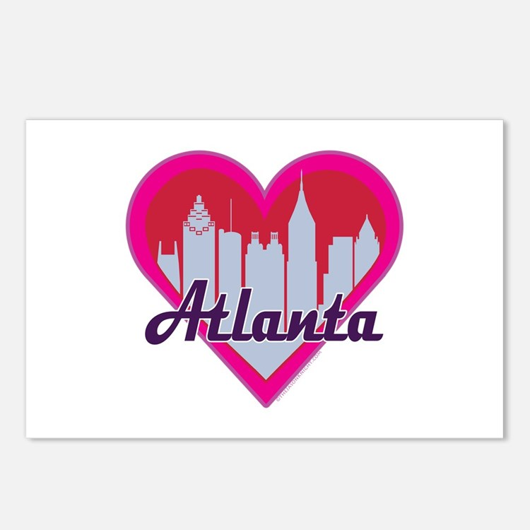 Atlanta Skyline Heart Postcards (Package of 8)
