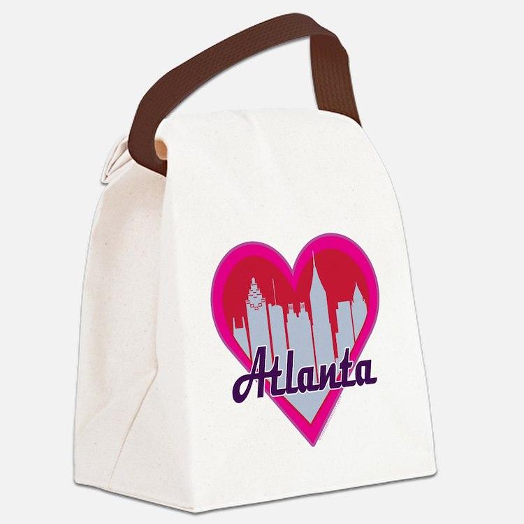 Atlanta Skyline Heart Canvas Lunch Bag