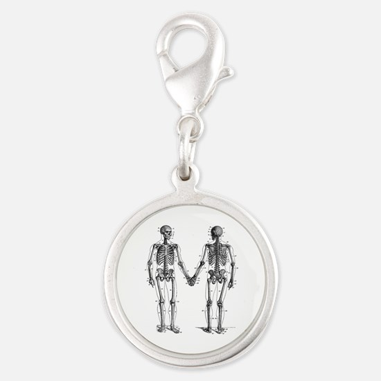 Skeletons Silver Round Charm