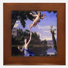 Colombel Cupid and Psyche love peace a Framed Tile