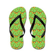 Golden Butterflies On Green Flip Flops