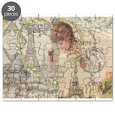 Vintage Paris France Collage Puzzle