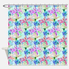 Colorful Watercolor Orchids Shower Curtain