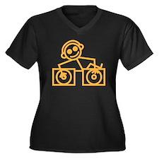 DJMan Women's Plus Size V-Neck Dark T-Shirt