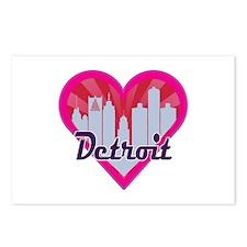 Detroit Skyline Sunburst Heart Postcards (Package