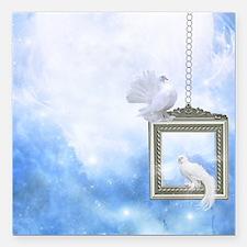 "Peace Dove 2 Square Car Magnet 3"" x 3"""