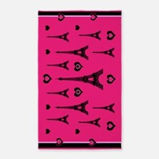 Trendy Pink and Black I LOVE PARIS 3'x5' Area Rug