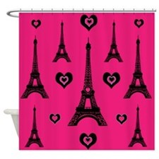 Trendy Pink and Black I LOVE PARIS Shower Curtain