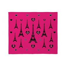 Trendy Pink and Black I LOVE PARIS Throw Blanket
