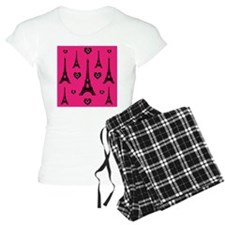 Trendy Pink and Black I LOVE PARIS pajamas